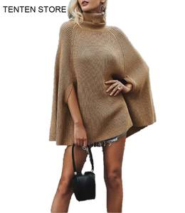 Knitted Sweaters Pullover Poncho Black Jumper Turtle-Neck Fall Womens Loose Casual Cloak