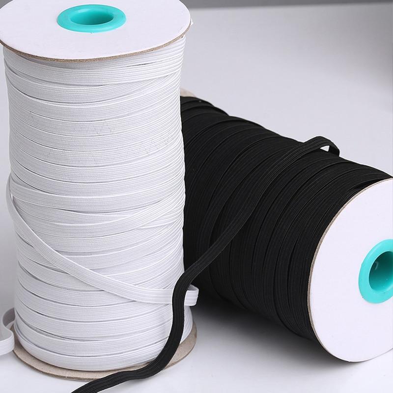 10m 3/4/5/6/8/10mm hohe qualität Elastische Bands weiß und schwarz Polyester Elastische band für Nähen Stoff DIY Kleid Zubehör