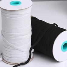 Высококачественные эластичные ленты из полиэстера, 10 м, 3/4/5/6/8/10 мм, белые и черные эластичные ленты для шитья, аксессуары для одежды DIY