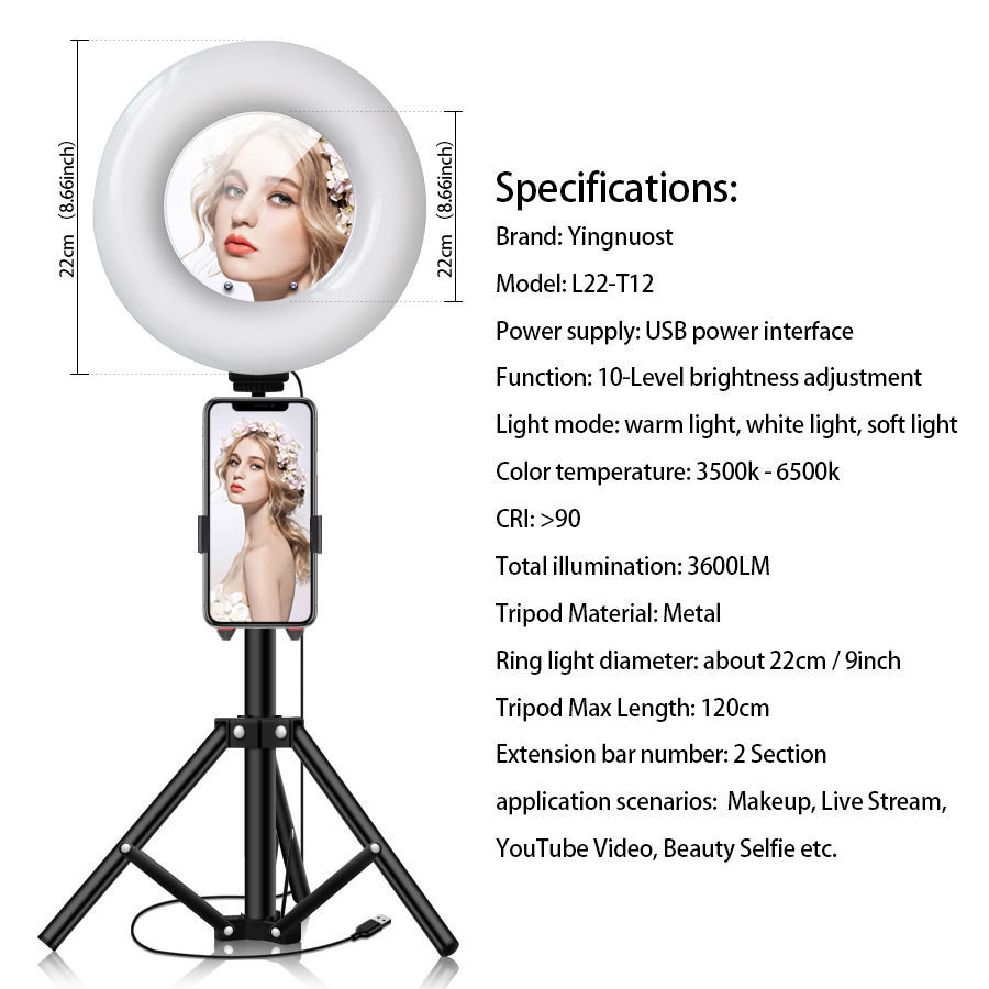 cheapest LED Selfie Ring Light Multi-Function Dimmable 26CM Light For Cell Phone Holder Camera Live beauty Video Stream Makeup Youtube