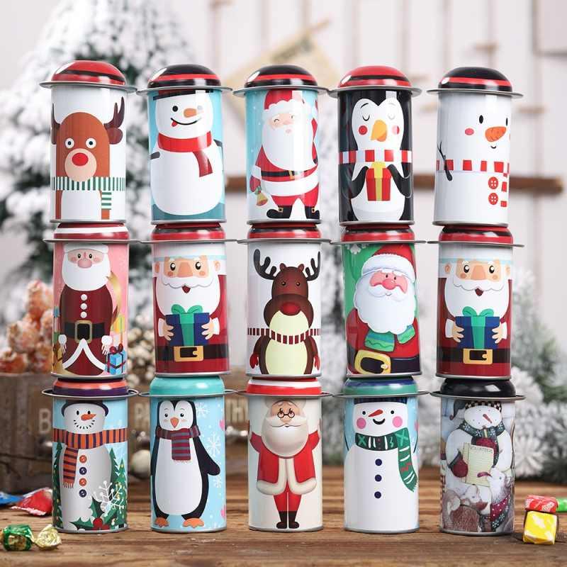 Mang Chủ Đề giáng sinh Thiếc Trống Hộp Kẹo Bánh Quy Tặng Khay Chứa Trang Trí nhà Quà Tặng Giáng Sinh Họa Tiết Ngẫu Nhiên