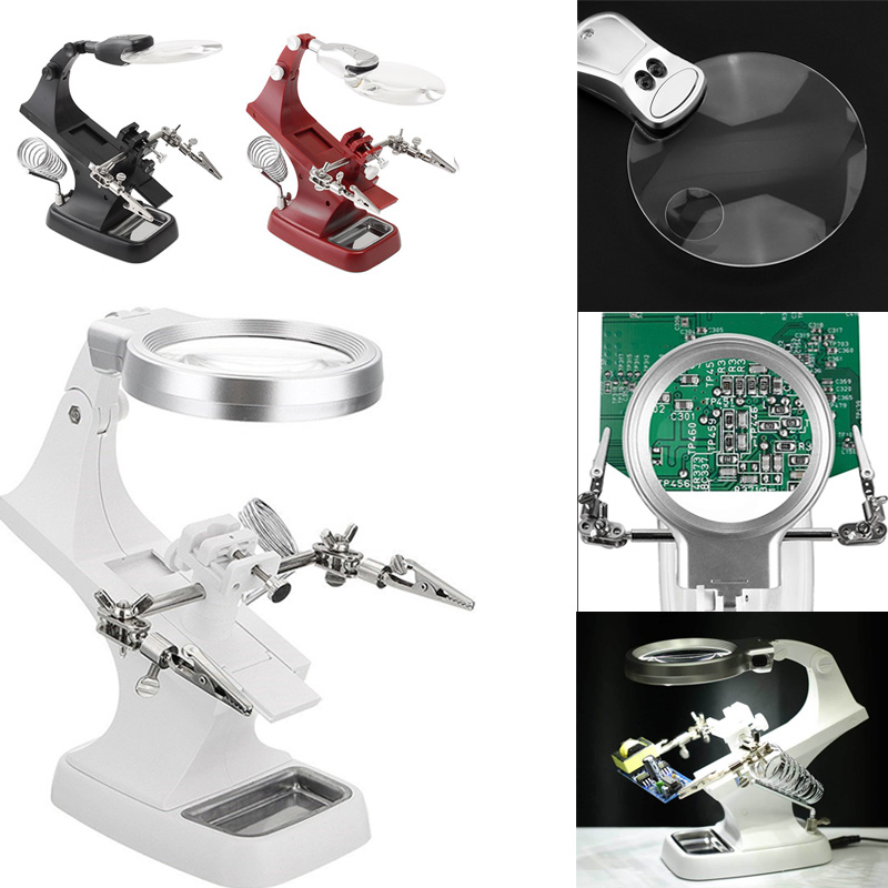 DIDIHOU Soldering Iron Stand LED Light Magnifying Glass Stand Helping Hands Magnifier Station With Clamp And  Clips