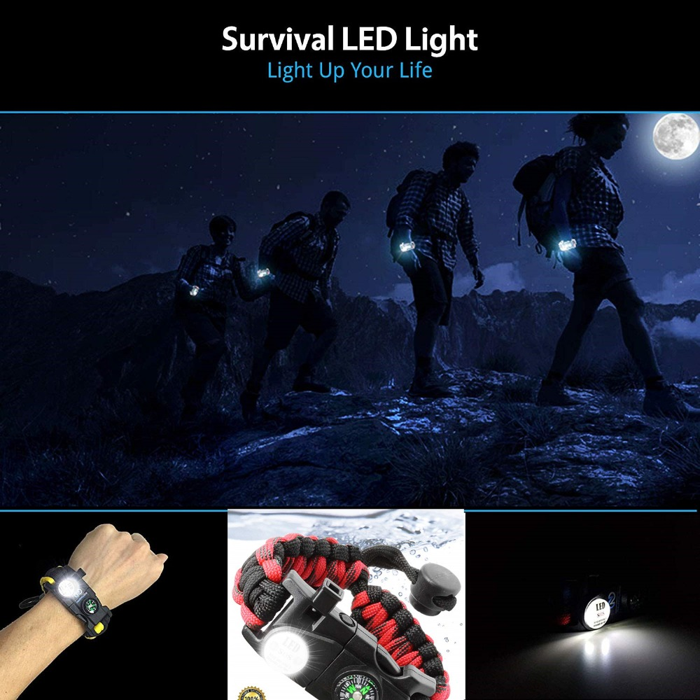 Outdoor Survival Wristband Paracord Bracelet Waterproof SOS LED Light Emergency Knife Whistle Compass multi tools Camping Equipment EDC (21)_副本
