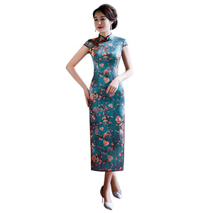 Image 5 - Quinceanera Hot Sale Appliques 2020 New Heavyweight Silk Cheongsam Long High Slit Short Sleeve Chinese Improved Printed Dress