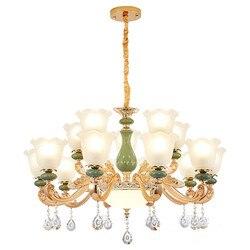 Europejskie luksusowe salon kryształowy żyrandol ze stopu cynku podstawa ceramiczna jadalnia sypialnia salon żyrandol Hall