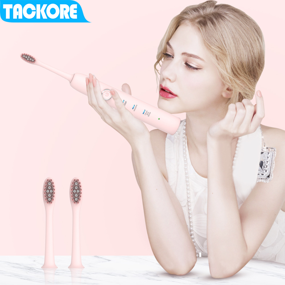 Tackore Electric Toothbrush Sonic Wave Rechargeable Top Quality Smart Chip Toothbrush Teeth Whiten Clearn Pink White Teeth Brush image