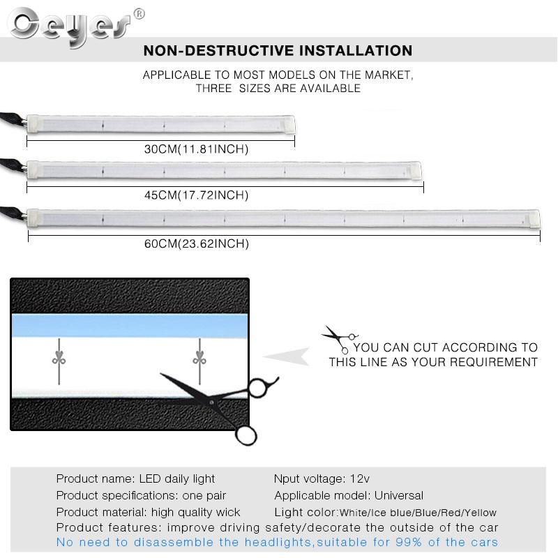 H2ff9c0bde381424d89a58279694b54a8S Ceyes 2pcs Led DRL Daytime Running Lights Turn Signal DRL Led Strip Car Light Accessories Brake Side Lights Headlights For Auto