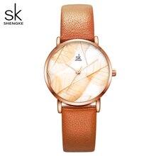 Shengke 새로운 여성 시계 크리 에이 티브 잎 다이얼 밝은 가죽 스트랩 쿼츠 시계 패션 Casul 숙녀 손목 시계 Montre Femme