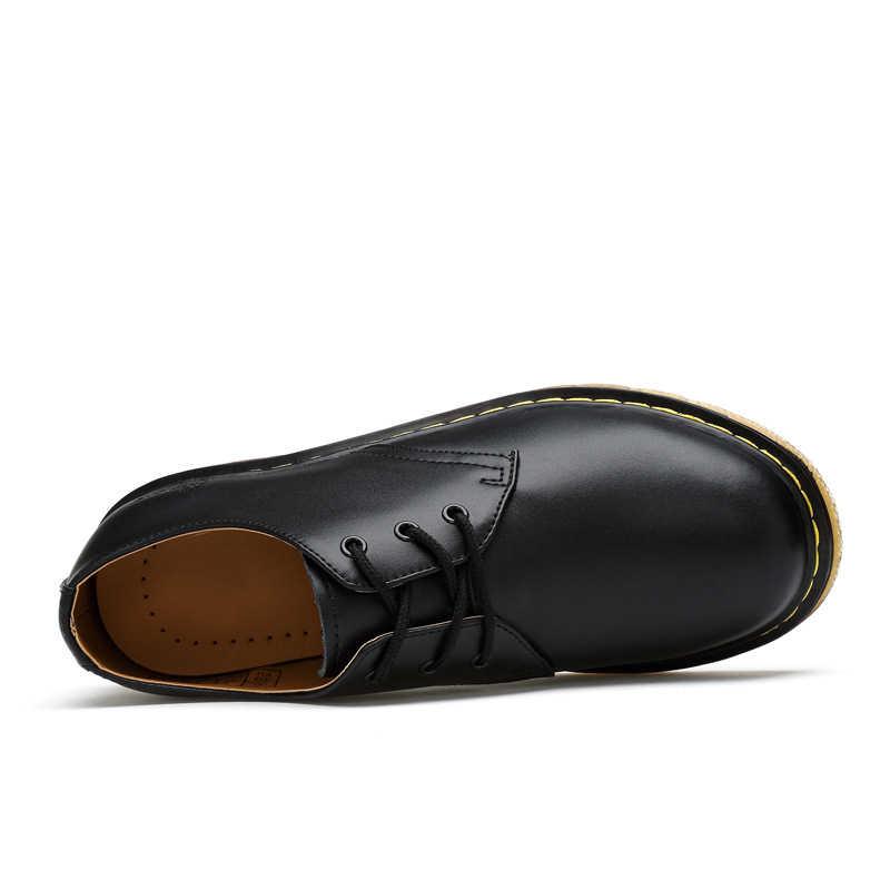 ใหม่ของแท้หนังรองเท้าผู้หญิงต่ำ Martin Boots รองเท้าแฟชั่นสำหรับ Unisex ฤดูหนาวข้อเท้ารองเท้าแพลตฟอร์มรองเท้าผู้ชายขนาดใหญ่ 35-46