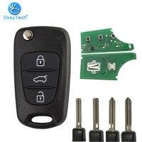 OkeyTech Hyundai Santa Fe için I20 I30 Ix25 Ix35 Sportage Kia uzaktan araba çevirme katlanır araba akıllı anahtar 433Mhz ID46 çip 3 düğmeler