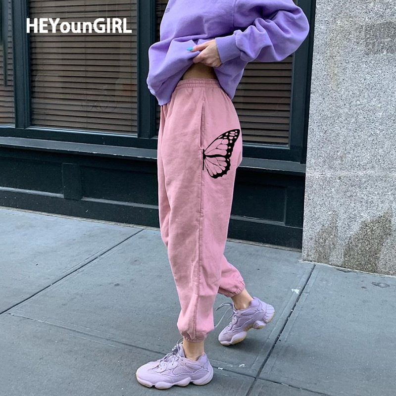 HEYounGIRL Pink Butterfly Print Casual Sweatpants Women Pockets Loose Harem Pants Capris Fashion High Waist Long Trousers Summer