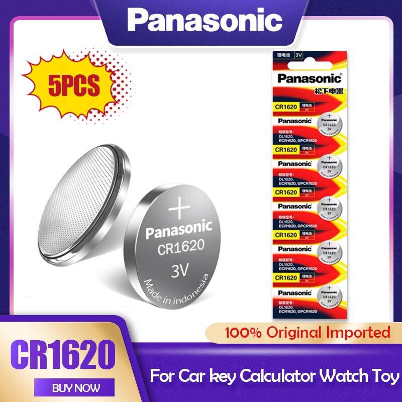 5 pces panasonic cr1620 cr 1620 3v baterias de lítio botão pilha moeda ecr1620 lm1620 dl1620 br1620 kcr1620 5009lc para carro de brinquedo chave