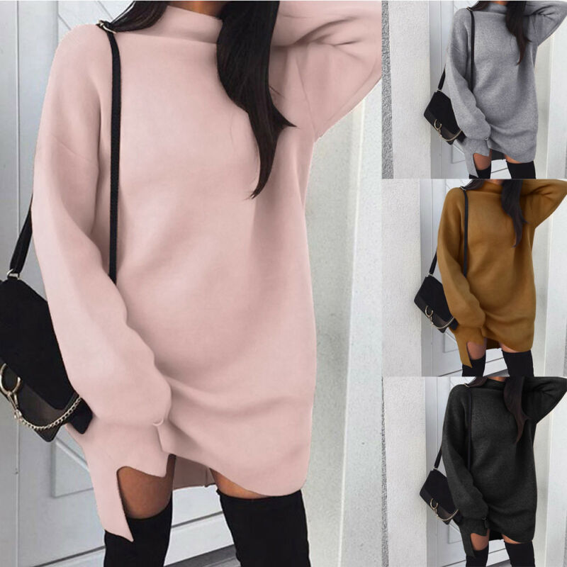Fashion Women Oversize Baggy Knitted Long Sweater Long Sleeves Mini Dress Jumper Winter Loose Pullover Turtleneck Tops Casual