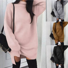 Mode Vrouwen Oversize Baggy Gebreide Lange Trui Lange Mouwen Mini Jurk Jumper Winter Losse Trui Coltrui Tops Casual(China)