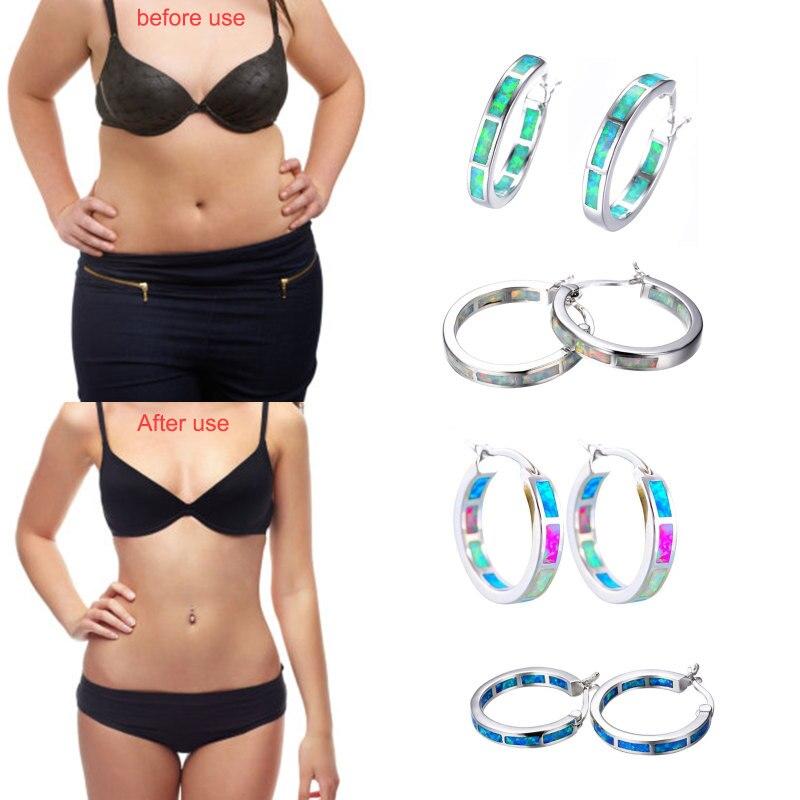 1 Pair Slimming Earrings Stainless Steel Health Weight Loss Ring Earrings Ladies Earrings Body Relaxation Massage Slim Ear Studs