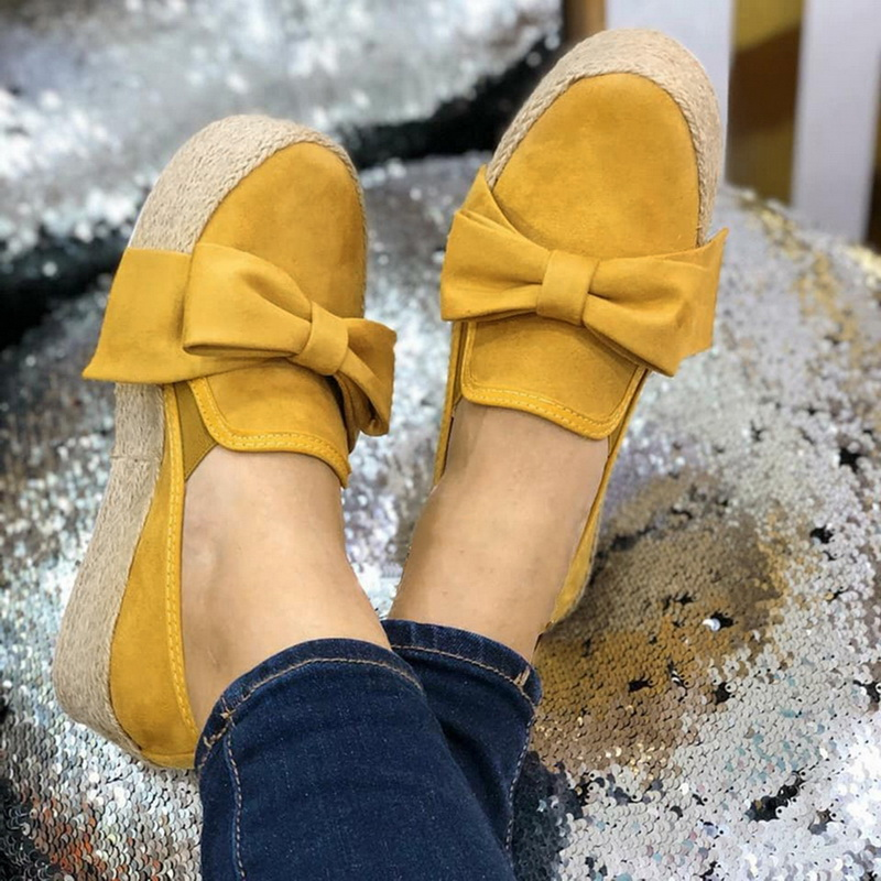 WENYUJH Spring Women Flats 2020 Shoes Slip On Casual Ladies Canvas Shoes Bow Thick Bottom Lazy Loafers Female Espadrilles Flat