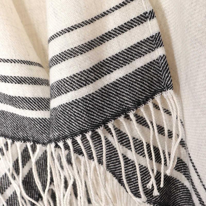 2019 kaschmir Winter Warme Ponchos Und Capes Für Frauen Foulard Femme Schals und Wraps Stripped Pashmina Weiblich Bufanda Mujer