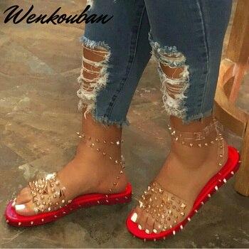 קיץ סנדלי נשים סנדלים שטוחים מסמרת לנשים בלינג אבזם חוף נעלי גבירותיי אופנה Sandalia Mujer Femmes Sandales