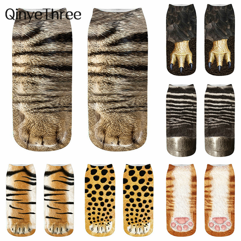 New Happy 3D Animals Claw Print Ankle Socks Unisex Soft Casual Cute Cotton Socks Funny Dog Zebra Pig Cat Paw Short Socks Cosplay