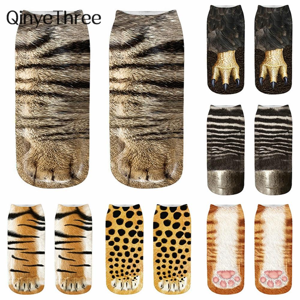 New Happy 3D Animals Claw Print Ankle Socks Unisex Soft Casual Cute Cotton Socks Funny Dog Zebra Pig Cat Paw Short Socks Cosplay