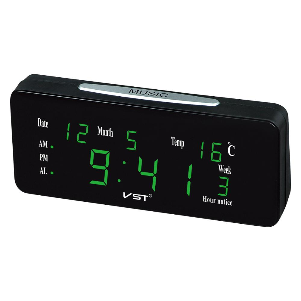 Hot Sale VST Digital Led Alarm Clock Snooze Perpetual Calendar Temperature Week Calendar Table Clock Bedroom Office Desk Clock image