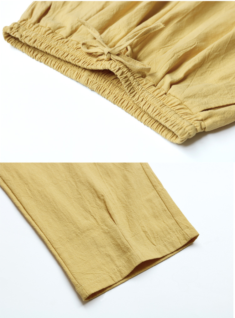 Women Summer Flax Ninth Pants Cotton and linen Trousers High Waist Lady's Loose and Comfortable Hot Girls' Casual Cloth Garments