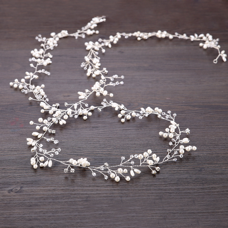 Lengthen 1M Bride Handmade Crystal Pearl Hair Band Headdress Wedding Dress Accessories Headband Jewelry