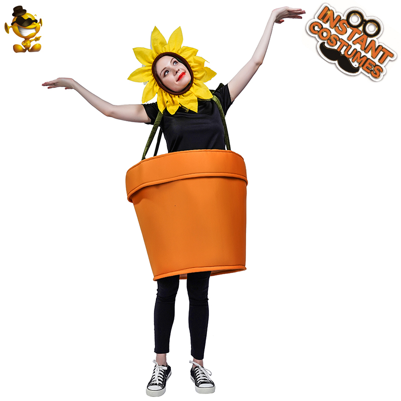 New Arrival Unisex Women Sunflower Pot Costumes Performance Funny Sunflower Plant Halloween Party