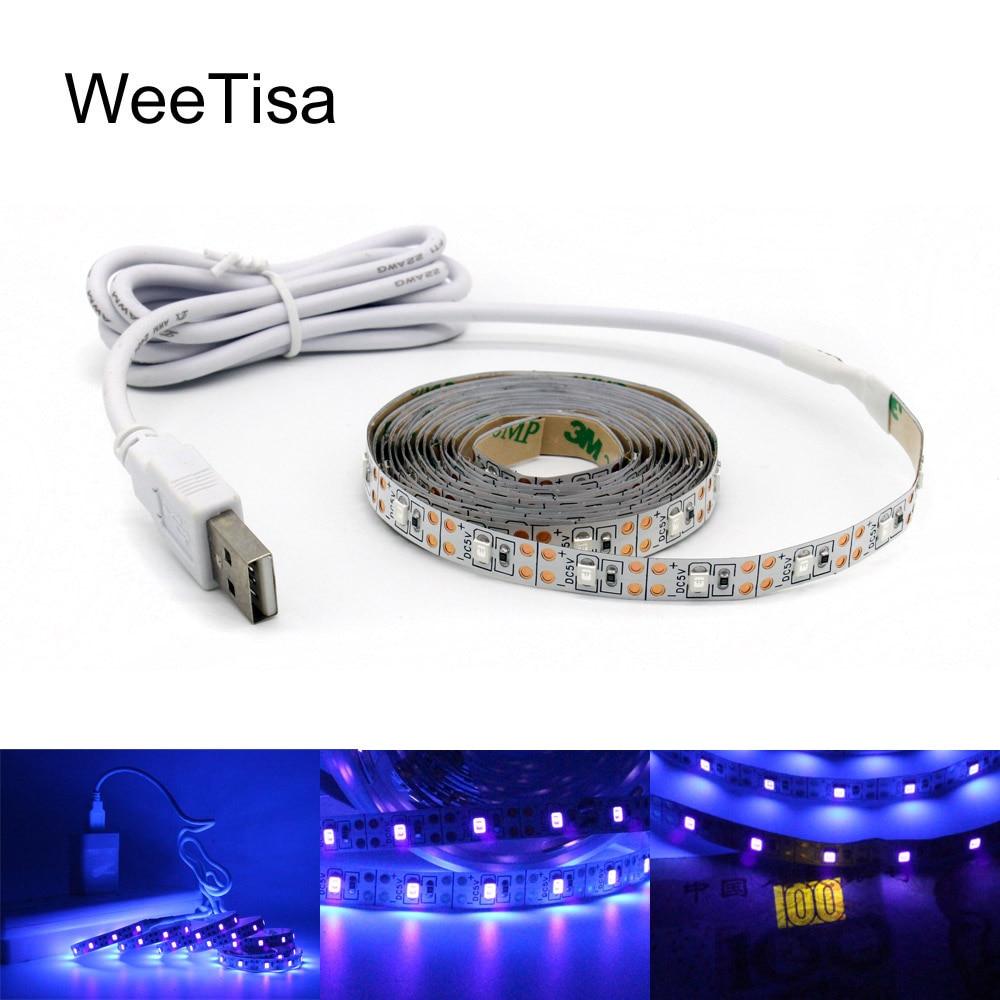 Светодиодная лента с УФ-USB, 395-405nm, гибкая ленточная лампа 5 в 2835 SMD для ТВ, USB, 1 м, 2 м, 3 м