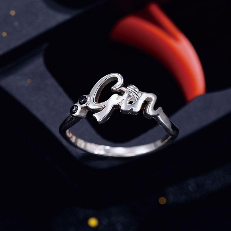 Détective Conan bague argent 925 croix bijoux Anime rôle Gin seigle Bourbon Vermouth Figure modèle - 3