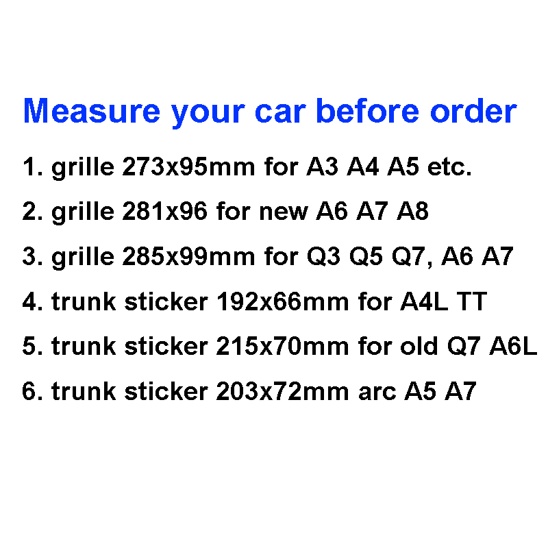 Image 3 - Glossy Black Emblem Logo for Audi A3 A4 A4L A6L TT Q3 Q5 Q7 A5 A7 RS3 RS4 RS5 RS6 Front Middle Rings Grille Badge Trunk Sticker-in Car Stickers from Automobiles & Motorcycles