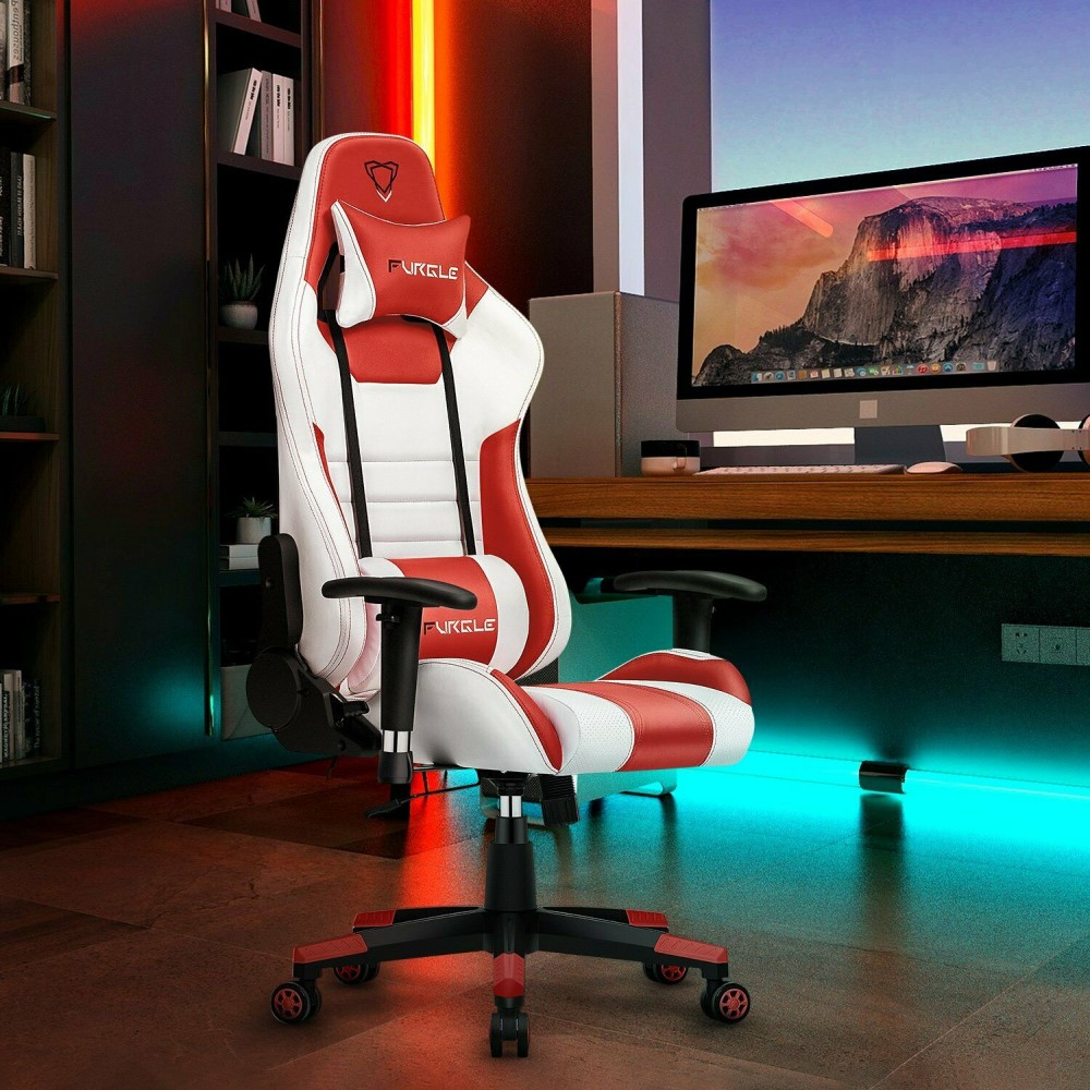 Gaming Office Chairs 180 Degree Reclining Computer Chair Comfortable Executive Computer Seating Racing Racer Recliner PU Leather