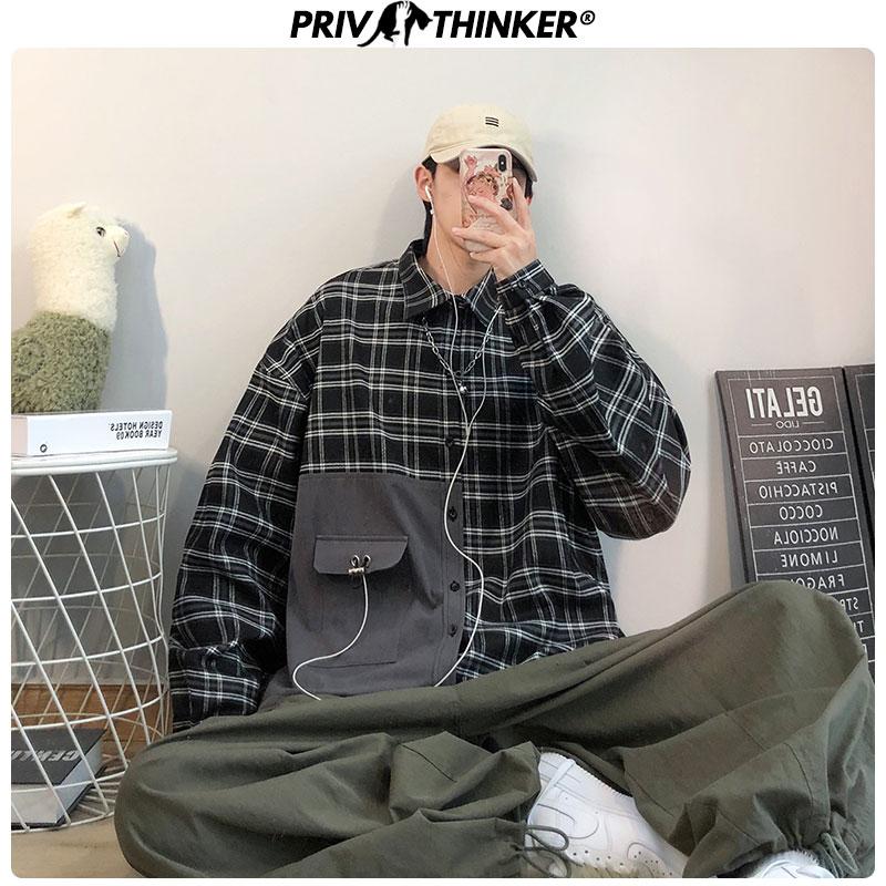 Privathinker Men Spring 2020 Plaid Hip Hop Shirt Mens Fashion Streetwear Causal Shirts Male Long Sleeve Harajuku Clothes Tops