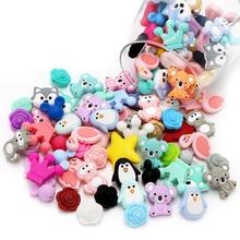 Joepada 10pcs Silicone Beads Food Grade Koala Raccoon Teethers Animal BPA Free Baby Teething Toy DIY Pacifier Chain Accessories