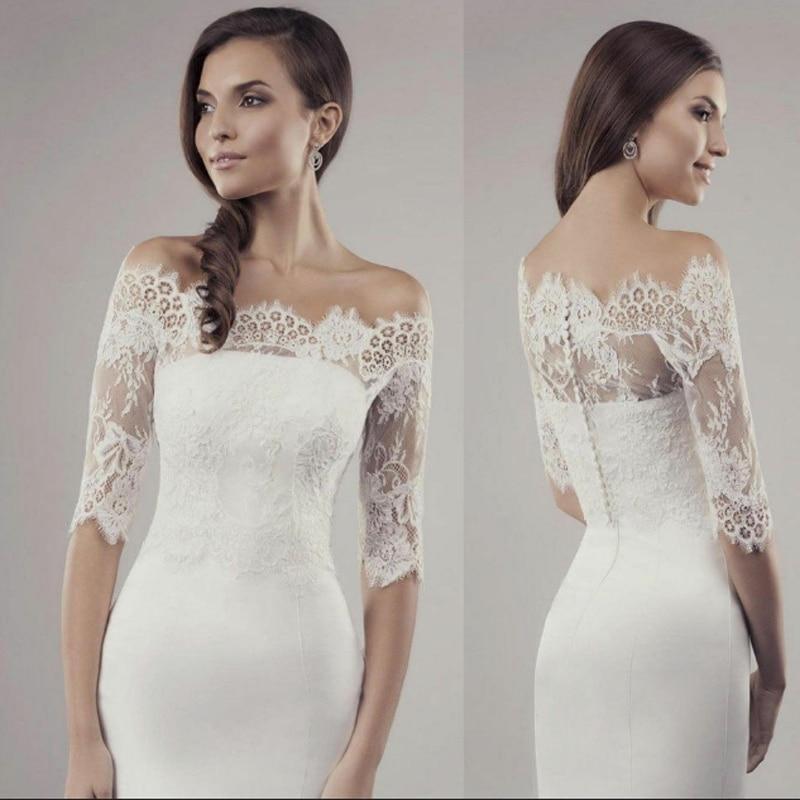 Lace White Ivory Wedding Bolero Jacket Off shoulder Half Sleeve Bridal Wrap Shawl