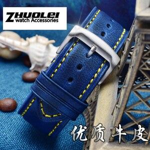 Image 2 - Bracelet de rechange Citizen AT8020 JY8078, en cuir véritable, 23mm, bleu bracelet de montre, avec bracelet à boucle pliable