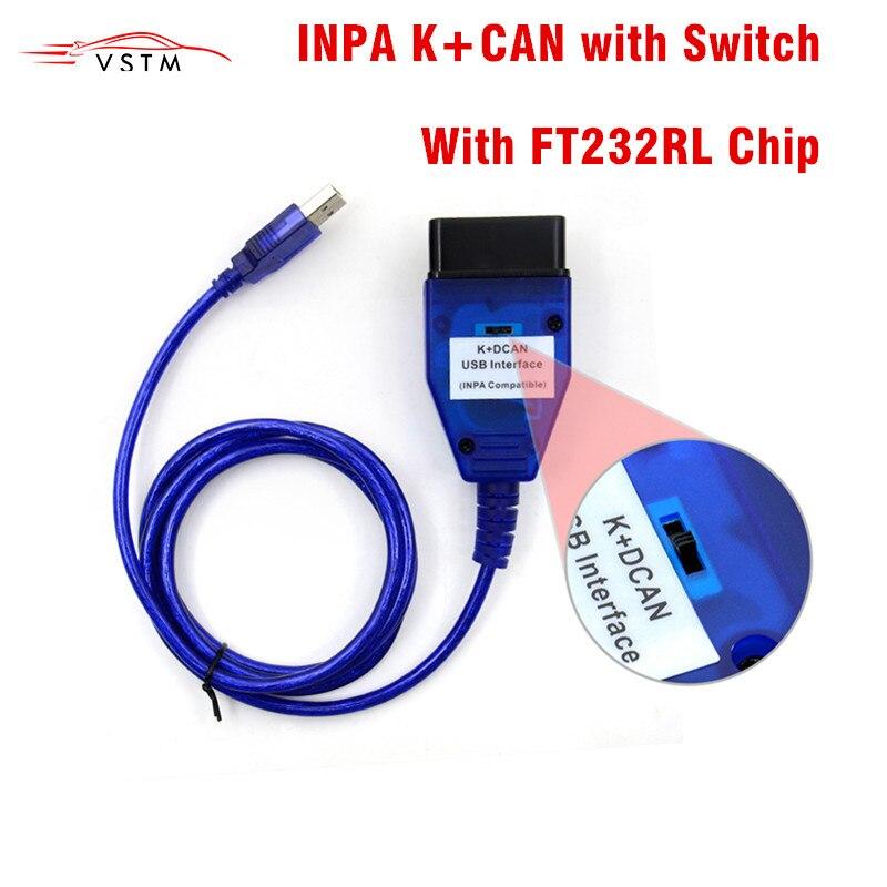 Для BMW INPA K + CAN K CAN INPA с чипом FT232RL с переключателем для BMW INPA K DCAN USB интерфейс диагностический кабель