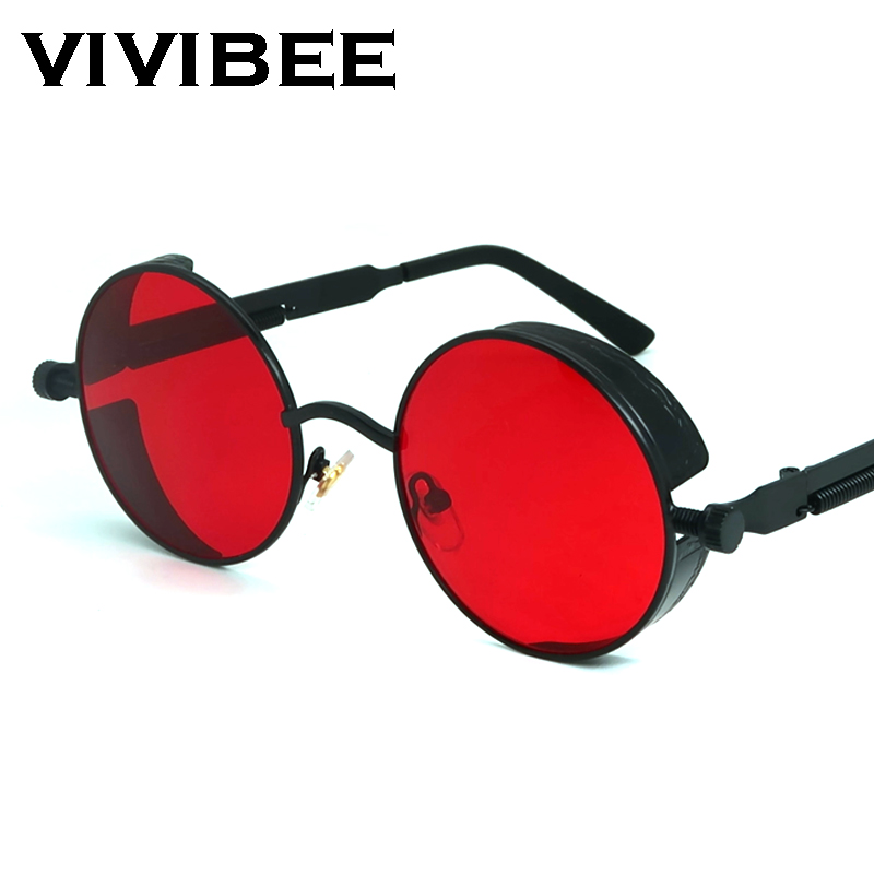 VIVIBEE Vintage Steampunk Red Sunglasses Men Round Punk Alloy Metal Retro Sun Glasses Women 2020 Goggles Men Gothic Style Shades