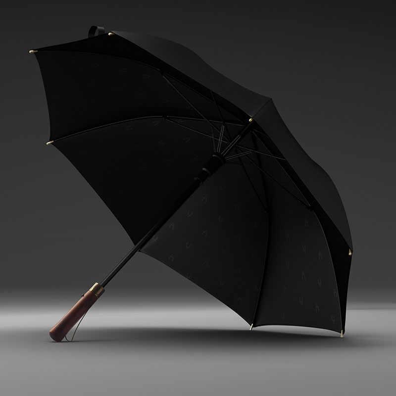 8K antivento Blu Blue large Ombrello lungo con manico in legno giapponese OLYCAT semi automatico grande ombrello da pioggia