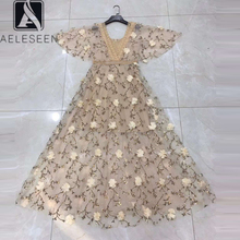 Embroidery Dress Designer Summer Flare-Sleeve Women Fashion Appliques Lace-Patchwork