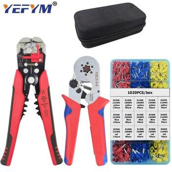 YEFYM Kit HSC8 6-4/6-6 Crimping Pliers YE-1R Stripping Cutting Plier 1020pcs/box Tube Terminal Suit Brand Electric Tools Set