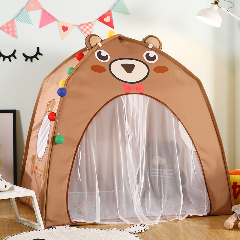 Baby Shining Baby Play House Play Tent Lights Playpen Tipi Play House 130cm with Window Pocket Cotton Mat Boy Girl Birthday Gift - 5