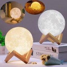 Луна лампа Луна свет Creactive свет для детей подарок на день рождения usb зарядка 3D печатных перезаряжаемые ночные огни лампа-Луна