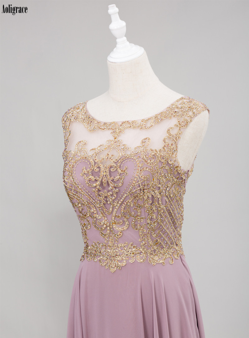 Crystal Scoop Gold Lace Appliques Sleeveless Chiffon Bridesmaid Dress 3