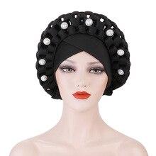 Ready to Wear African Aso Oke Headtie Nigeria Wedding Gele Muslim Headscarf Bonnet Female Head Wraps Islam Turban Caps