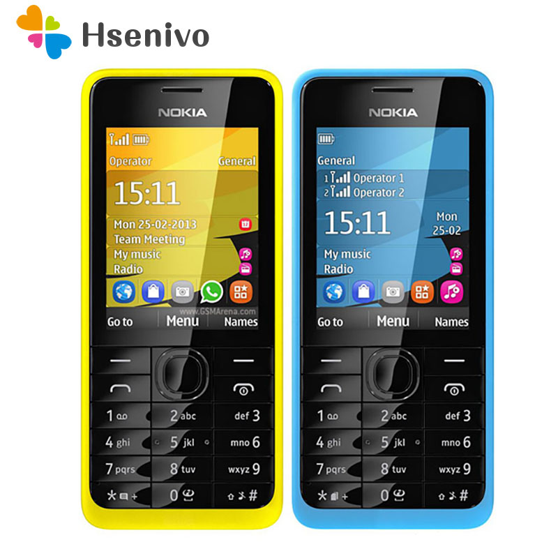 301 Original Nokia 301 Unlocked WCDMA 2.4`` Dual SIM Cards 3.2MP Mobile Phone Refurbished