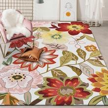 American rural flowers pattern living room big size carpet bedroom plush rug printing bathroom non-slip floor mat customize
