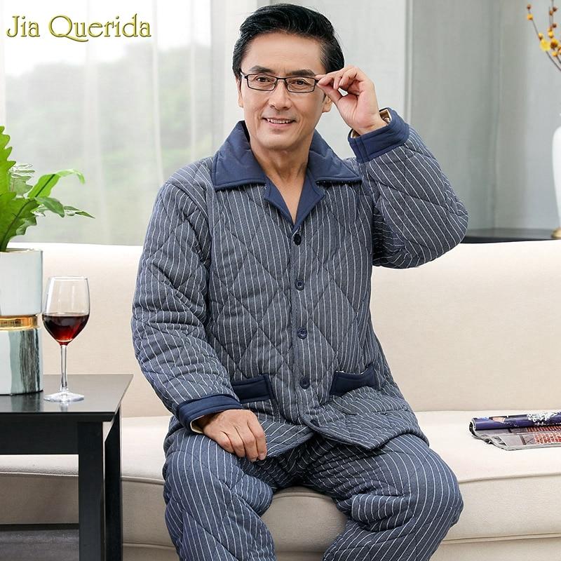 Chinese Pajamas Cotton Winter Pajama Set Plus Size Father's Pyjamas Set Lapel Striped Printing 3 Layer Padded Warm Sleepwear Men