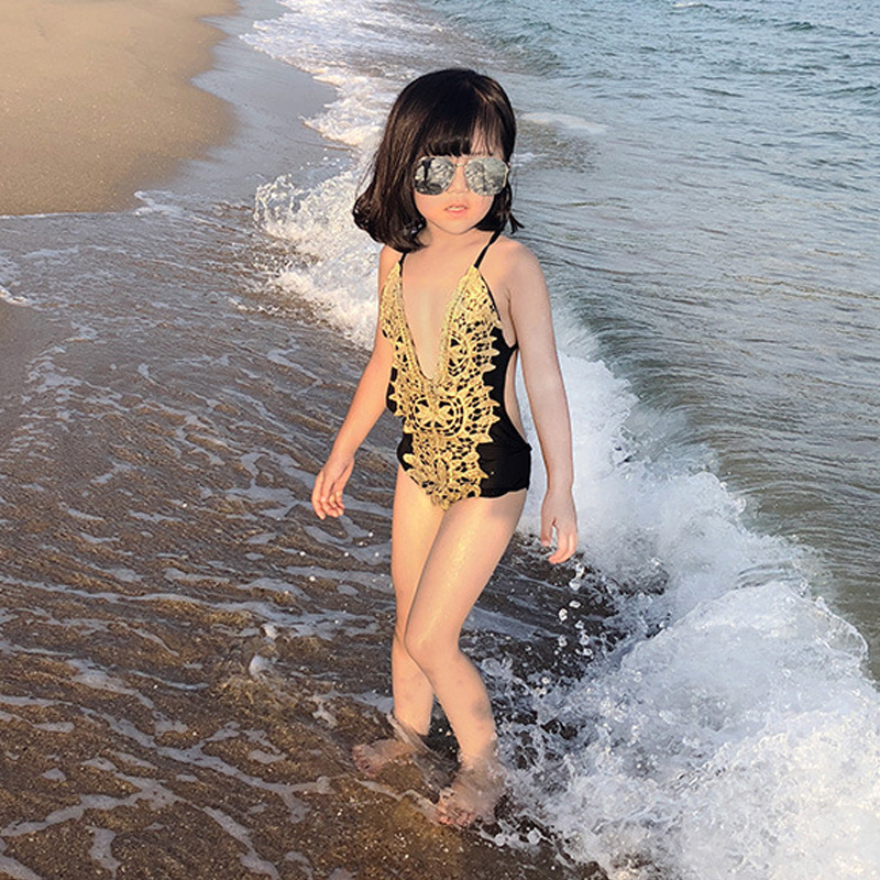 Girl'S One-piece Swimming Suit Sexy Fashion Lace Parent And Child-CHILDREN'S Swimwear Big Boy Hot Springs Swimwear