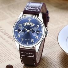 Pilot Men Watch Waterproof Calendar Display Small Dial Quartz Watches Leather Strap Watch Men Wrist Fashion Relogio Masculino